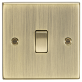Knightsbridge 10A 1G Intermediate Switch - Square Edge Antique Brass