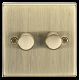 Knightsbridge 2G 2 Way 10-200W (7-150W LED) Trailing Edge Dimmer - Square Edge Antique Brass