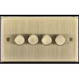 Knightsbridge 4G 2 Way 10-200W (7-150W LED) Trailing Edge Dimmer - Square Edge Antique Brass