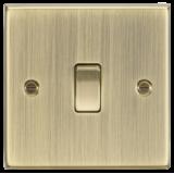 Knightsbridge 10A 1G 2 Way Plate Switch - Square Edge Antique Brass