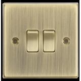 Knightsbridge 10A 2G 2 Way Plate Switch - Square Edge Antique Brass