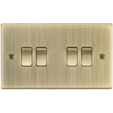 Knightsbridge 10A 4G 2 Way Plate Switch - Square Edge Antique Brass