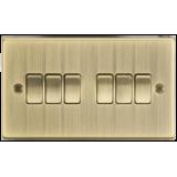 Knightsbridge 10A 6G 2 Way Plate Switch - Square Edge Antique Brass