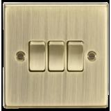 Knightsbridge 10A 3G 2 Way Plate Switch - Square Edge Antique Brass