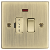 Knightsbridge 13A Switched Fused Spur Unit With Neon - Square Edge Antique Brass