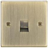 Knightsbridge Telephone Extension Outlet - Square Edge Antique Brass