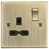 Knightsbridge 13A 1G DP Switched Socket With Black Insert - Square Edge Antique Brass