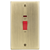 Knightsbridge 45A DP Switch With Neon (Double Size) - Square Edge Antique Brass