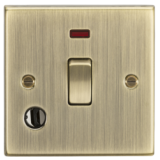 Knightsbridge 20A 1G DP Switch With Neon & Flex Outlet - Square Edge Antique Brass