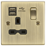 Knightsbridge 13A 1G Switched Socket Dual USB Charger Slots With Black Insert - Square Edge Antique