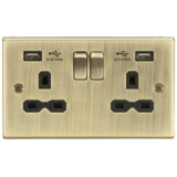 Knightsbridge 13A 2G Switched Socket Dual USB Charger Slots With Black Insert - Square Edge Antique