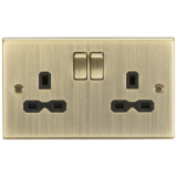 Knightsbridge 13A 2G Switched Socket With Black Insert - Square Edge Antique Brass