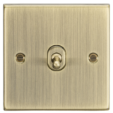 Knightsbridge 10A 1G 2 Way Toggle Switch - Square Edge Antique Brass