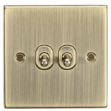 Knightsbridge 10A 2G 2 Way Toggle Switch - Square Edge Antique Brass