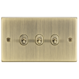 Knightsbridge 10A 3G 2 Way Toggle Switch - Square Edge Antique Brass