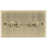 Knightsbridge 10A 4G 2 Way Toggle Switch - Square Edge Antique Brass