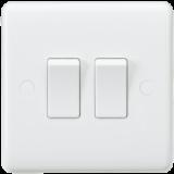 Knightsbridge Curved Edge 10A 2G 2 Way Switch