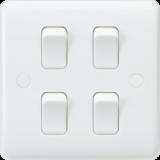 Knightsbridge Curved Edge 10A 4G 2 Way Switch (On Single Plate)