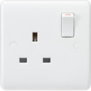 Knightsbridge Curved Edge 13A 1G DP Switched Socket