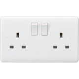 Knightsbridge Curved Edge 13A 2G SP Switched Socket