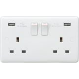 Knightsbridge Curved Edge 13A 2G Switched Socket With Dual USB Charger (5V DC 3.1A Shared)