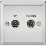 Knightsbridge Diplex TV & FM DAB Outlet - Bevelled Edge Polished Chrome