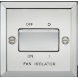 Knightsbridge 10A 3 Pole Fan Isolator Switch - Bevelled Edge Polished Chrome