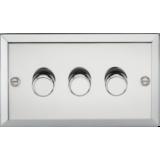 Knightsbridge 3G 2 Way 40-400W Dimmer - Bevelled Edge Polished Chrome
