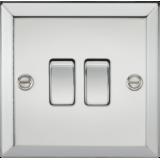 Knightsbridge 10A 2G 2 Way Plate Switch - Bevelled Edge Polished Chrome
