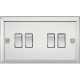Knightsbridge 10A 4G 2 Way Plate Switch - Bevelled Edge Polished Chrome