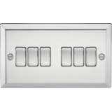 Knightsbridge 10A 6G 2 Way Plate Switch - Bevelled Edge Polished Chrome