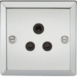 Knightsbridge 5A Unswitched Socket With Black Insert - Bevelled Edge Polished Chrome