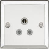 Knightsbridge 5A Unswitched Socket With Grey Insert - Bevelled Edge Polished Chrome
