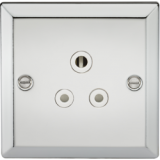 Knightsbridge 5A Unswitched Socket With White Insert - Bevelled Edge Polished Chrome