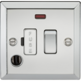 Knightsbridge 13A Switched Fused Spur Unit With Neon & Flex Outlet - Bevelled Edge Polished Chrome