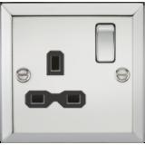 Knightsbridge 13A 1G DP Switched Socket With Black Insert - Bevelled Edge Polished Chrome