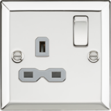 Knightsbridge 13A 1G DP Switched Socket With Grey Insert - Bevelled Edge Polished Chrome