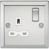 Knightsbridge 13A 1G DP Switched Socket With White Insert - Bevelled Edge Polished Chrome