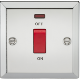 Knightsbridge 45A DP Switch With Neon (Single Size) - Bevelled Edge Polished Chrome