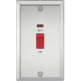 Knightsbridge 45A DP Switch With Neon (Double Size) - Bevelled Edge Polished Chrome