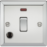 Knightsbridge 20A 1G DP Switch With Neon & Flex Outlet - Bevelled Edge Brushed Chrome