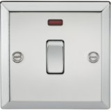 Knightsbridge 20A 1G DP Switch With Neon - Bevelled Edge Polished Chrome