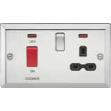 Knightsbridge 45A DP Cooker Switch & 13A Switched Socket With Neons & Black Insert - Bevelled Edge P