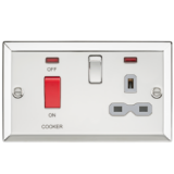 Knightsbridge 45A DP Cooker Switch & 13A Switched Socket With Neons & Grey Insert - Bevelled Edge Po