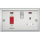 Knightsbridge 45A DP Cooker Switch & 13A Switched Socket With Neons & White Insert - Bevelled Edge P