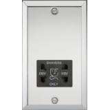 Knightsbridge 115-230V Dual Voltage Shaver Socket With Black Insert - Bevelled Edge Polished Chrome