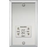 Knightsbridge 115-230V Dual Voltage Shaver Socket With White Insert - Bevelled Edge Polished Chrome