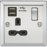 Knightsbridge 13A 1G Switched Socket Dual USB Charger Slots With Black Insert - Bevelled Edge Polish