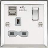 Knightsbridge 13A 1G Switched Socket Dual USB Charger Slots With Grey Insert - Bevelled Edge Polishe