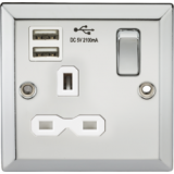 Knightsbridge 13A 1G Switched Socket Dual USB Charger Slots With White Insert - Bevelled Edge Polish